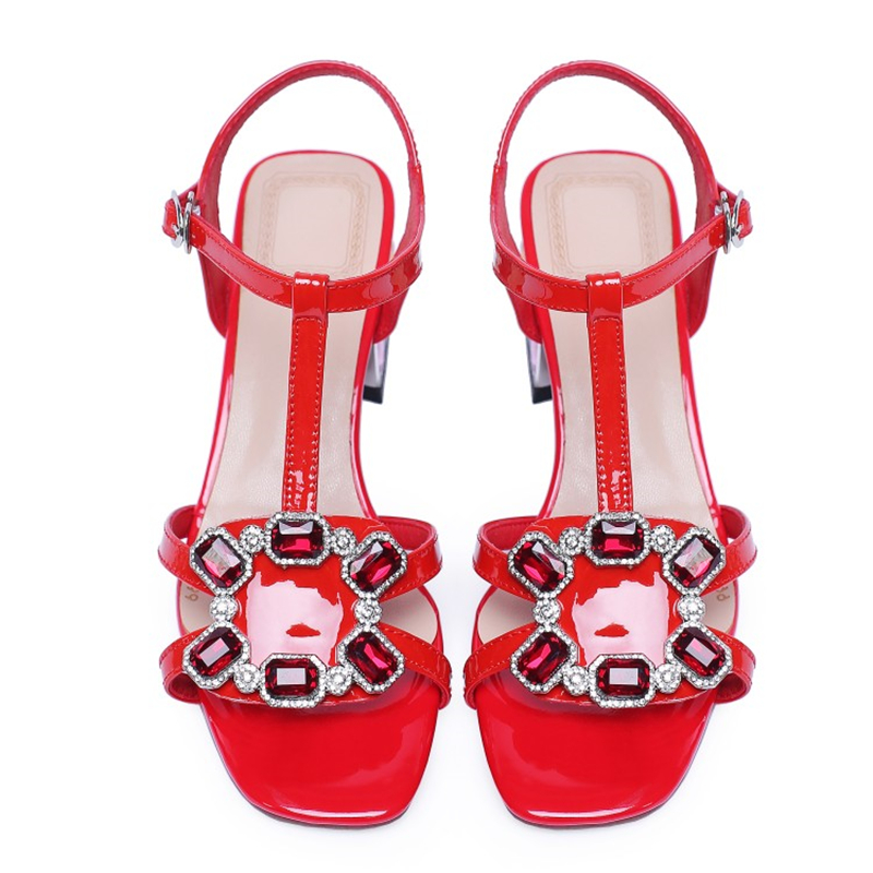 Ouqinvshen Red Rhinestone Sandals Sexy Fashion Buckle Strap Peep Toe Summer Sandals 2019 Square Heel High Heels Pumps Women 6CM