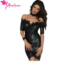 Dear Lover Party Club Dress Off Shoulder Summer 2017 Sexy Fashion Black Embroidered Asymmetric Mini Dress