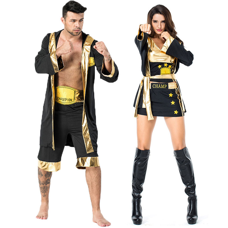 Umorden Black Gold Hercules Boxing Boxer Costume for Men Adult Wrestlers Knockout Halloween Party Carnival Costumes