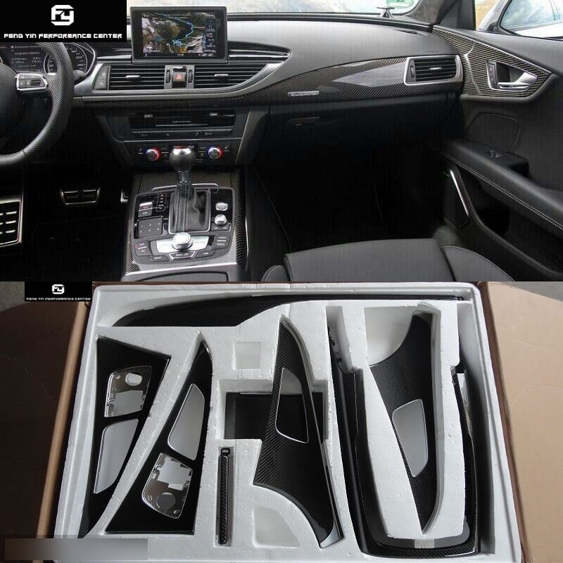 A6 C7 Replacement Carbon Fiber Interior Door Handle Cover For Audi A6 C7 Car Body Kit 12-16