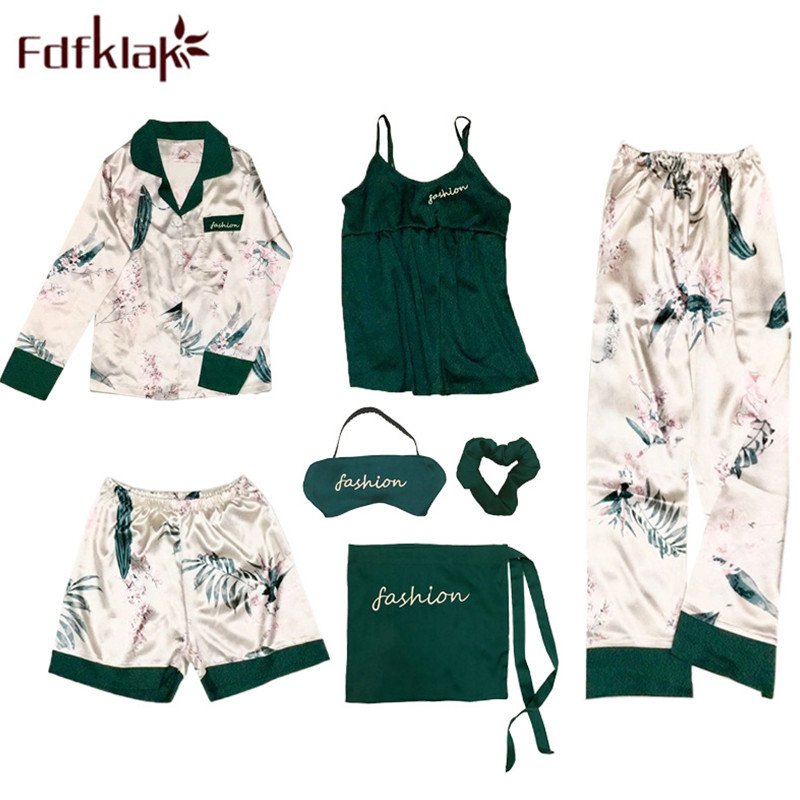 Fdfklak Sexy Sleeping Pijamas Sleepwear 2018 Spring Summer Faux Silk 7 Pieces Pajama Set Pyjama Femme Floral Home Clothes Q1139
