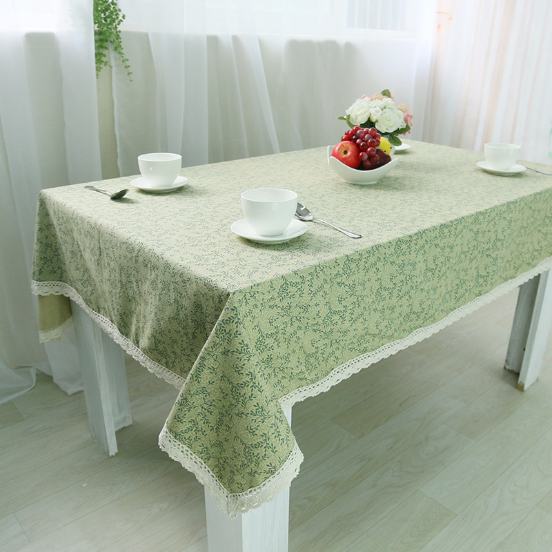 Small Pure Fresh Leaves Pattern Green Tablecloth European