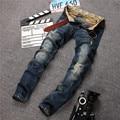 Retro Azul Buraco Em Linha Reta calças de Brim Dos Homens Da Marca de Jeans Homens 2017 Moda Personalidade Rua Denim Calças Calças de Lazer Masculinos