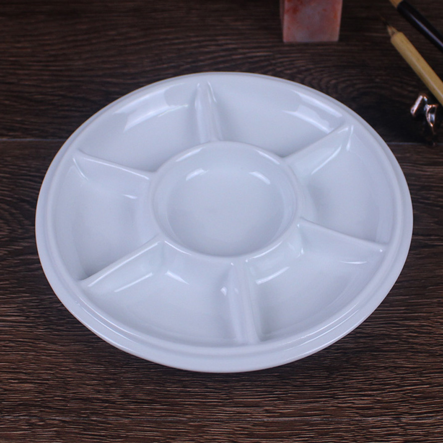 Circular Ceramic Palette plum blossom Chinese Painting Calligraphy Pigment With cover