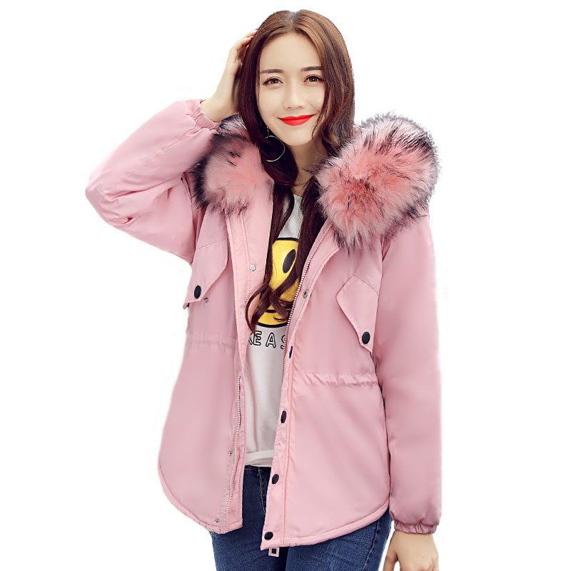 Thickening  Parka Cotton Padded Coat Women Hooded Fur Collar Long Sleeve Slim Quilted Jacket Winter Womens 2017 New Korean Style hooded collar korean new 2014 winter clothing full sleeve solid down jacket slim women casual cotton padded coat ly1066