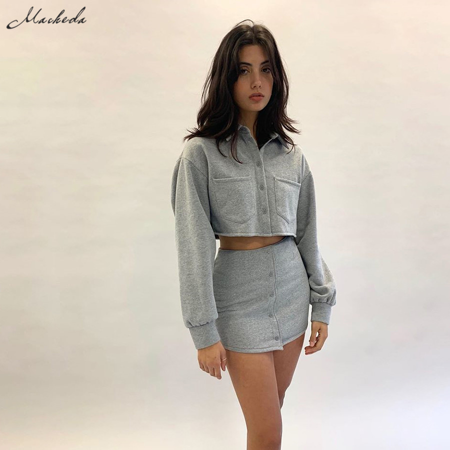 Macheda Autumn Short 2 Piece Set Women Single Breasted Long Sleeve Turn Down Collar Top And Mini Skirt Sets Lady Casual Set