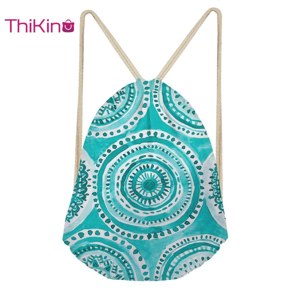 Thikin Ikat Tribal Casual Sack Drawstring Bag For Girls Boys Travel Backpack Toddler Softback Lady Beach Mochila DrawString Bag