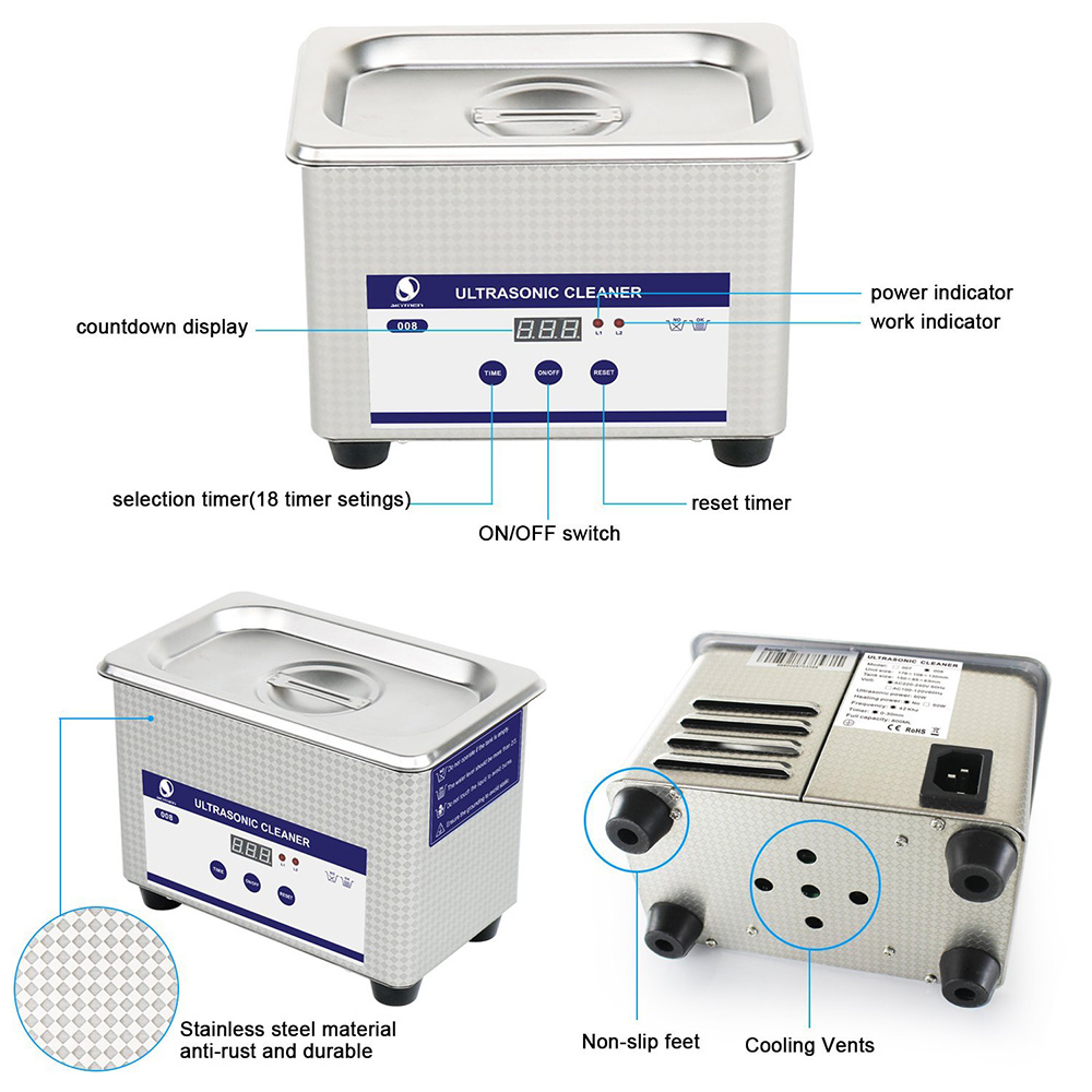 Skymen Ultrasonic Cleaner Bath Jewelry Metal Parts Cutters Stone Dental Toothbrush PCB Manicure Tool Ultra Sonic Cleaner