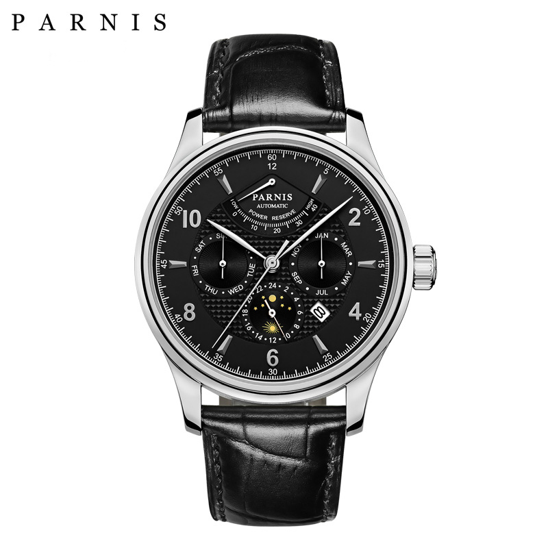 43mm Parnis Business Watch Men Power Reserve Moon Phase Mechanical Watches Leather Band Waterproof Automatic Watch Men