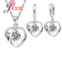 Top Quality 925 Sterling Silver Wedding Jewelry Set Necklace Earrings For Women Crystal Heart LOVE Anniversary Gift(China)