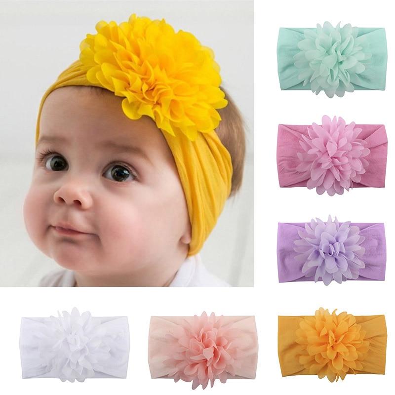 US Newborn Baby Kid Girl Broad Headband Solid Turban Solid Hair Band Accessories