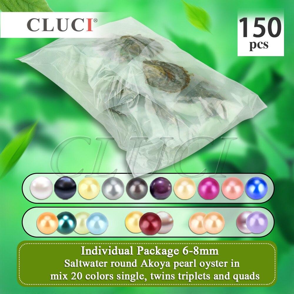 CLUCI 150 pcs 6-8mm de Mélange 20 Couleurs Ronde Naturelle Perles Akoya AAA D'eau Salée Perles Emballés Sous Vide Huîtres avec Perles