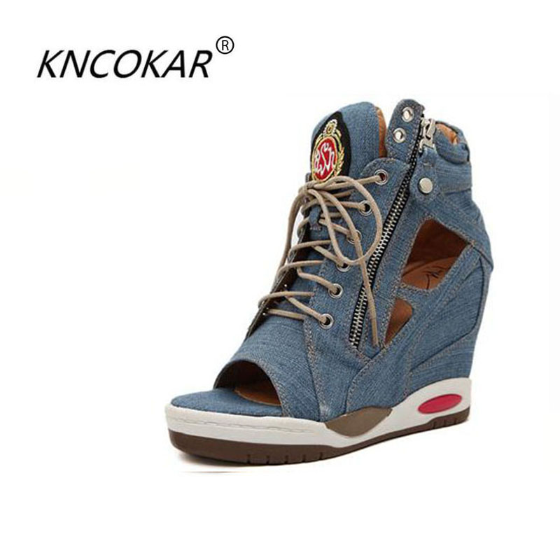 In summer increased wedge heels fashion sexy boots and waterproof Taiwan denim canvas belt fish mouth