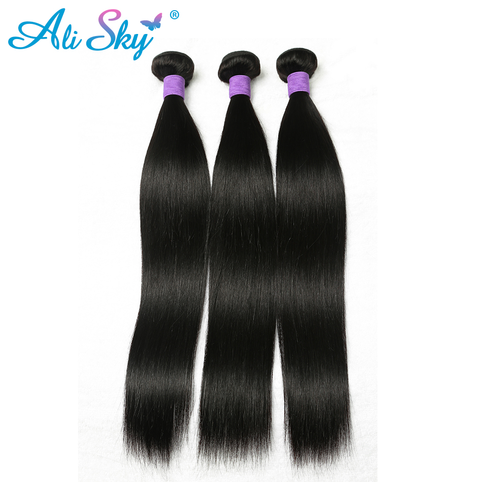 Malaysian Straight nonremy Hair 1 piece Ali Sky peruka Natural Black can be dyed and curled 8-26inch weft 1b