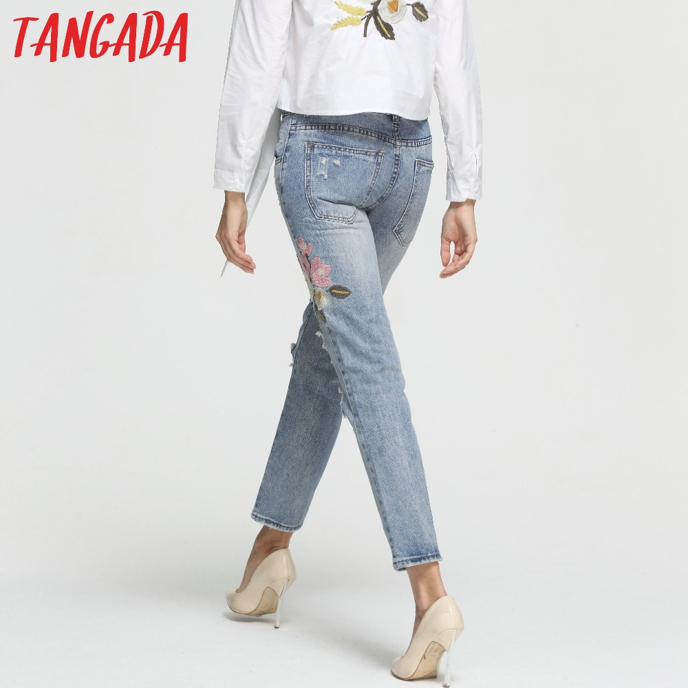tangada women ripped embroidery jeans femme plus. Black Bedroom Furniture Sets. Home Design Ideas