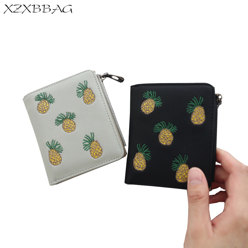 XZXBBAG Female Cute Pineapple Hasp Zipper Short Wallet Women PU Folding Coin Purse Girl Fruit Mini Money Bag Students Card Pack virgo august 24 to september 23 constellations tri fold short pu wallet zipper money coin card holder girl boys birthday gifts