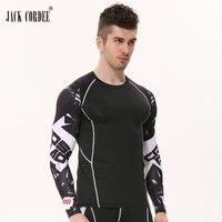 2016 Gym T Shirts Compression Shirt Crossfit T Shirt Men Long Sleeve 3D Training Running Brand