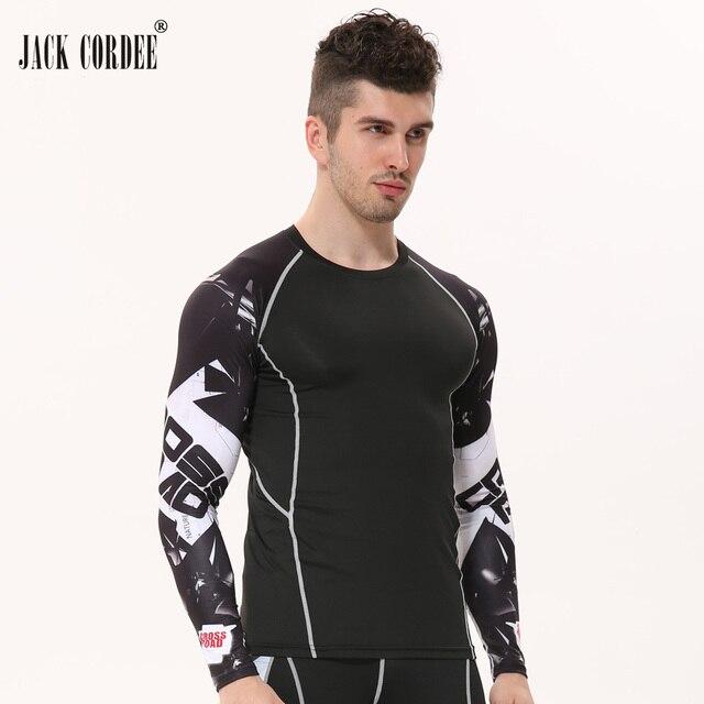 a8f745ce58 Mens de Fitness 3D Imprime Camiseta de Mangas Compridas Homens Musculação  Compressão Skin Tight Térmicas Camisas