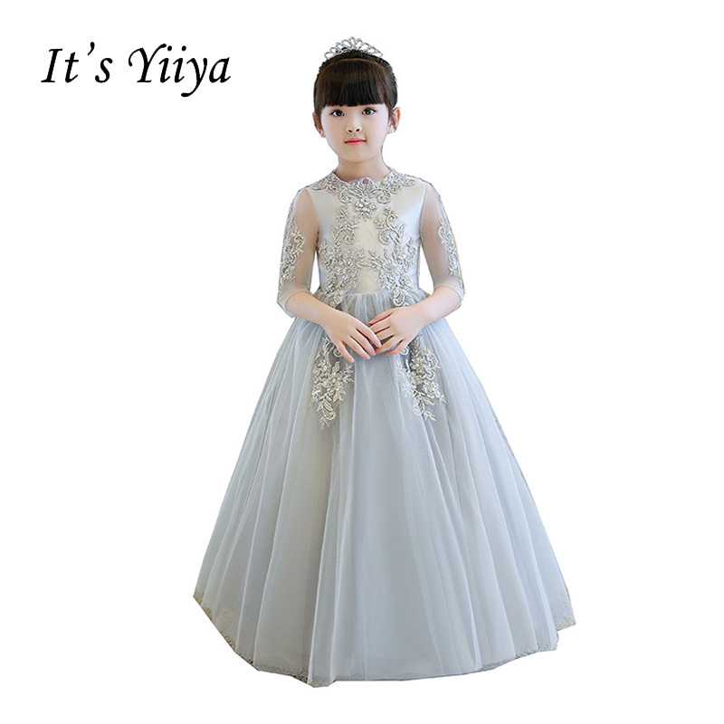 It's YiiYa Gray Half Sleeves Zipper Embroidery Lace Flowers Floor-length Ball Gowns Princess Flower Girls Dress Communion TS254