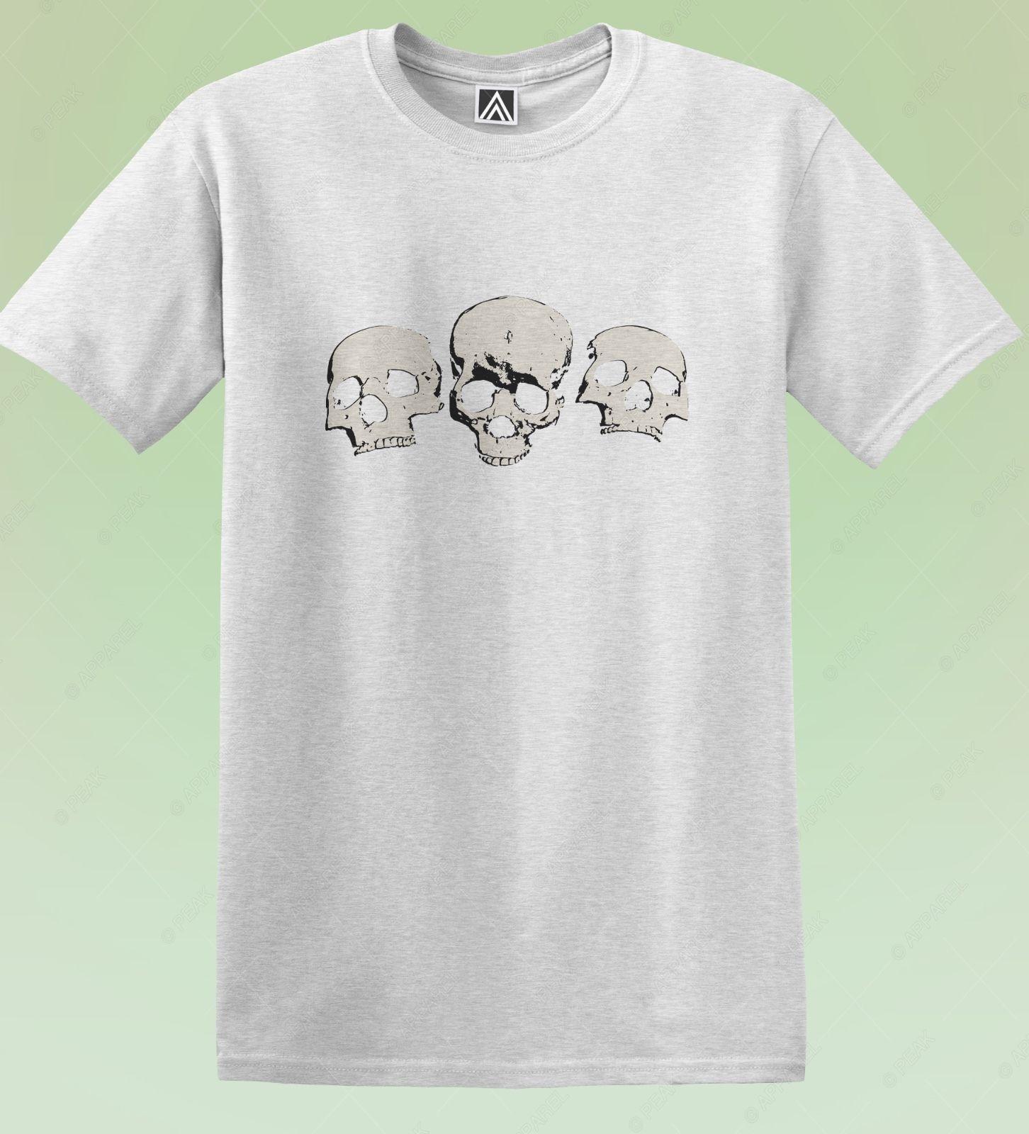Skulls T-shirt Skeleton Face Brave Gothic Inspired Tee Bones Metal Grunge Top