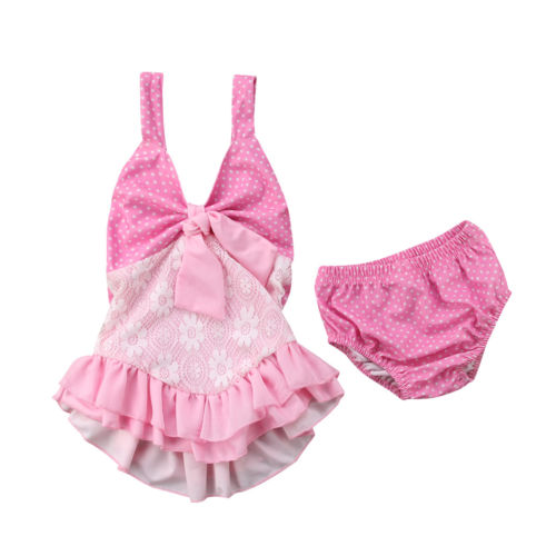 Infant Toddle Baby Girls Lace Tutu Ruch Bikini Swimsuit Swimwear Beachwear Bathing Suit  ...