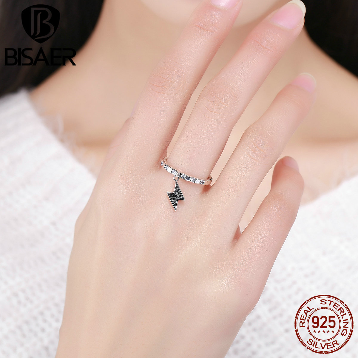 2018 New Authentic 925 Sterling Silver Black CZ Tuesday Lightning Finger Rings for Women Girl Fine Jewelry Gift Femme anneau