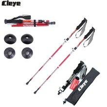 JoShock Cleye 2pcs/lot  Aluminum Alloy Folding stick 4 Joint Telescopic Trekking Pole Portable Walking Stick With lock system