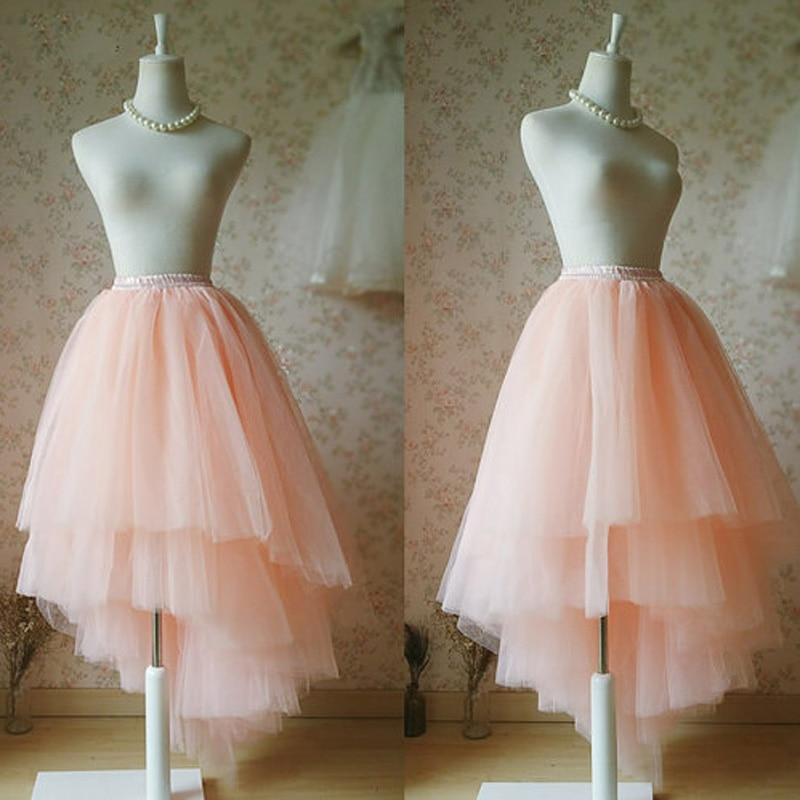 US $32.2 8% OFF|Unique Custom Tutu Skirts Blush Bridal Tutu Ballerina  Tiered Tulle Skirts Elastic Plus Size High Low Summer Blush Wedding  Skirts-in ...