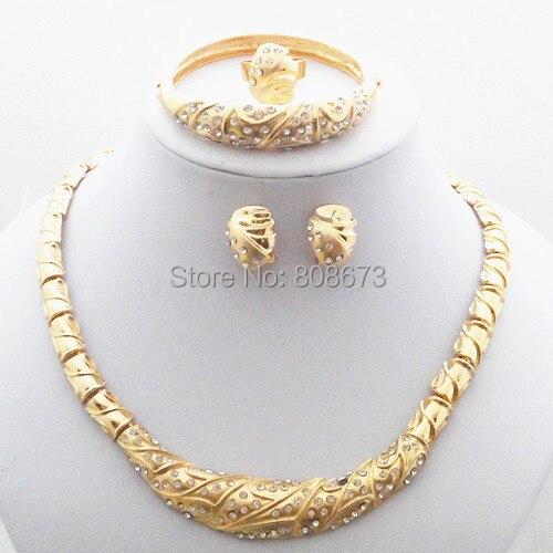 De Calidad superior 24 K Gold Filled Mujeres Banquetes Bangel Del Anillo Aretes Collar de La Joyería Fija El Envío Libre Elegante de La Joyería