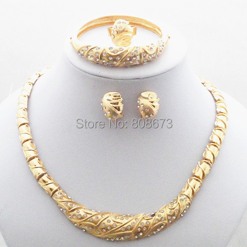 Top Quality 24K Gold Filled Women Banquet Jewelry Set Necklace Earrings Bangel Ring Sets Free Shipping Elegant Jewelry