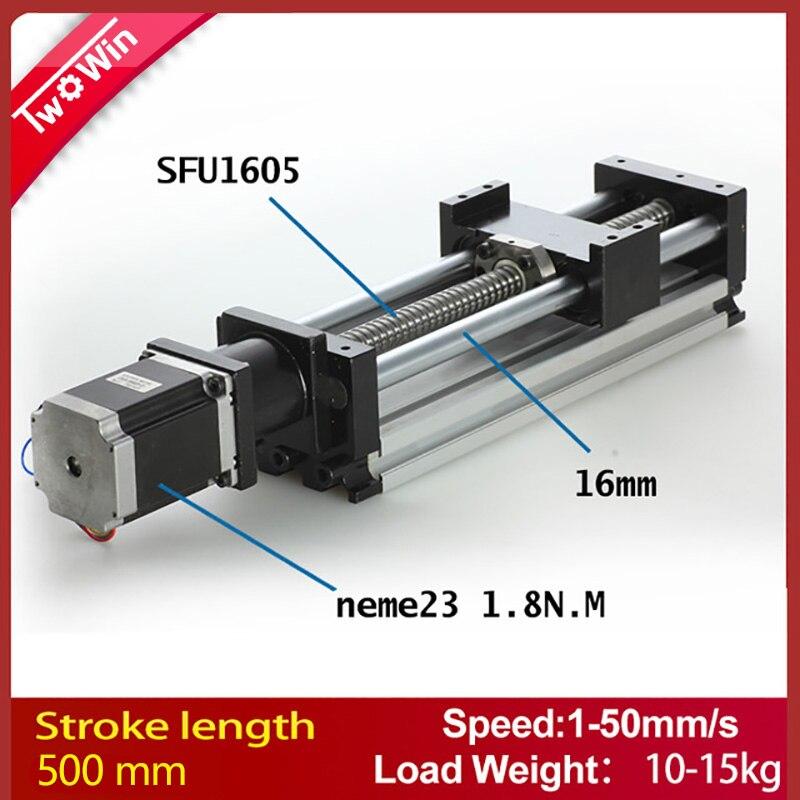 Linéaire du système D'actionneur Linéaire Module Table 500mm voyage longueur CNC Guide 1605 Vis À Billes Table Coulissante