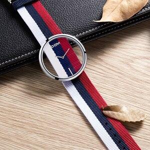 Image 2 - Kadın saatler DOM marka lüks moda rahat kuvars benzersiz şık Hollow İskelet saatler naylon spor Lady saatı LP 205