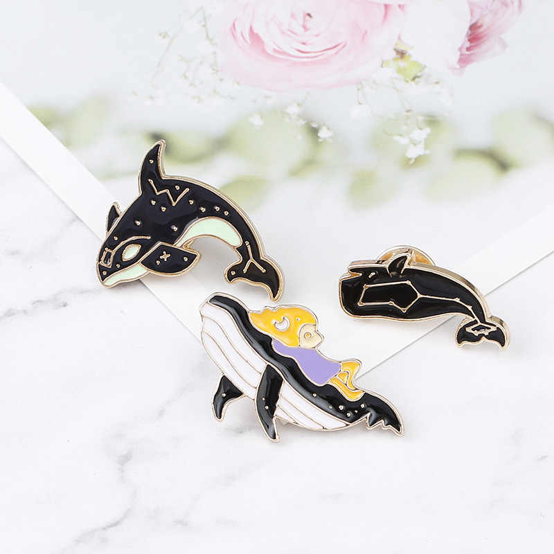 Personality Cartoon Cute Dolphin Whale Brooches for Women Men Enamel Pins and Brooch Jewelry Clothes Backpack Badge Pin Button