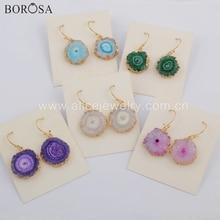BOROSA Bohemia Rainbow Solar Quartz Druzy Earrings Gold Natural Sun Flower Quartz Drop Dangle Earrings Jewelry for Women G1739
