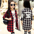 Long Plaid Blouses For Girls Shirts Long Sleeve Cotton Coats Girls Outerwear Children Clothing Spring Autumn Tops 3 7 9 11 Years
