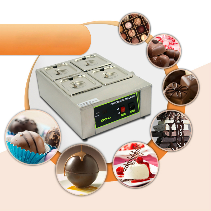 ITOP 4 Lattices With 4 Pans Digital Chocolate Melting Pot Electric Stainless Steel Chocolate Machine EU UK US Plug in Chocolate Fountains from Home Appliances