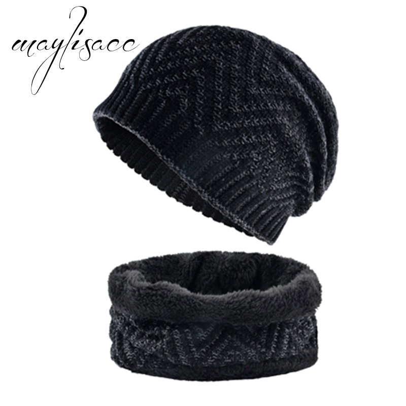 Solid Color Autumn Winter Warm Knitted Hat With Scarf Ring Maylisacc New Fashionable Scarves With Hat Set For Men Outdoor Sport