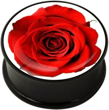 1 pair Rose on White single flare ear plug gauges tunnel flesh tunnel with rubber ring body piercing jewelry