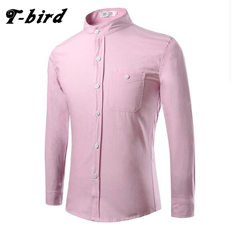 2017 new fashion brand men shirt oxford pure color dress for Men oxford slim fit long sleeve shirt
