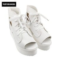 Womens Lace Up Flatform Sandals Ankle Shoes High Top Platform Wedge Heel Hollow White Color Open Toe Summer Casual Shoes Female