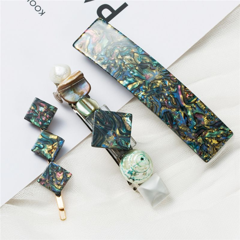 3PCS/Set New Women Girls Vintage Acetic Acid Geometric Hair Clip Barrette Hairgrips Hair Pins Hair Clips Styling Accessories
