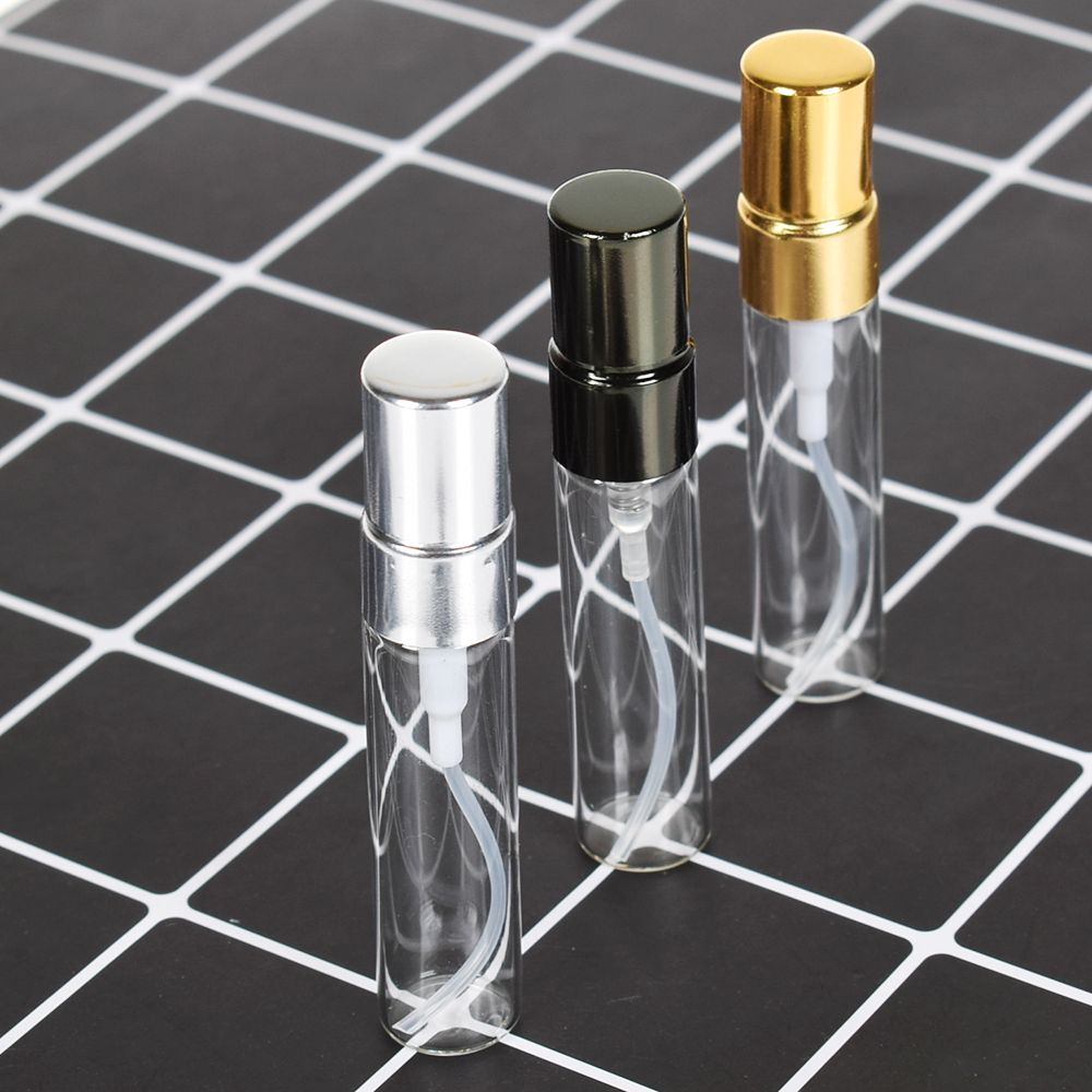 5ML Mini Portable Colorful Glass Perfume Bottle With Aluminum Atomizer Empty Cosmetic Containers For Travel