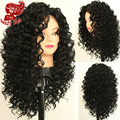 Free Shipping! 180% Density Top Quality Heat Resistant Synthetic Lace Front Wigs Fiber Loose Curly Wigs Synthetic Hair Wigs