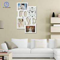 Modern Natural Wood Wall Clock Quartz Needle Mute Digital Wall Clocks Home Picture Frame Decoration Crafts Watch