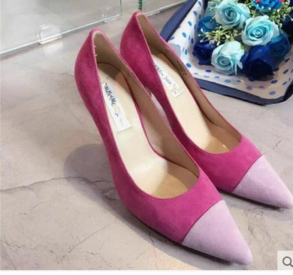 ФОТО Spring and autumn single shoes female color block decoration thin heels high-heeled pointed toe small 31 32 33 plus size 40 41