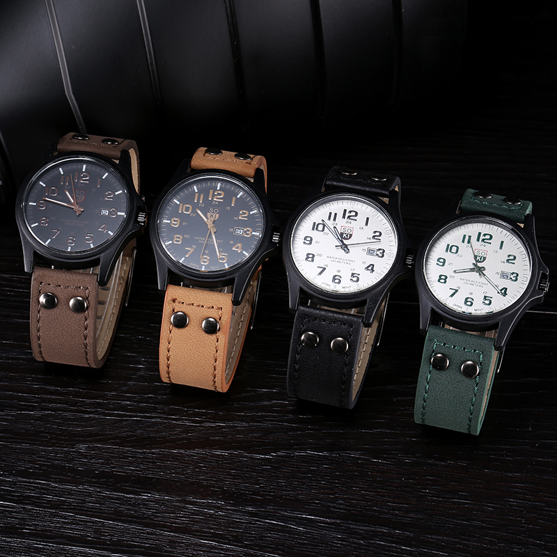 arrival vintage classic men s date leather strap watches sport arrival vintage classic men s date leather strap watches sport quartz watch military brand wristwatch