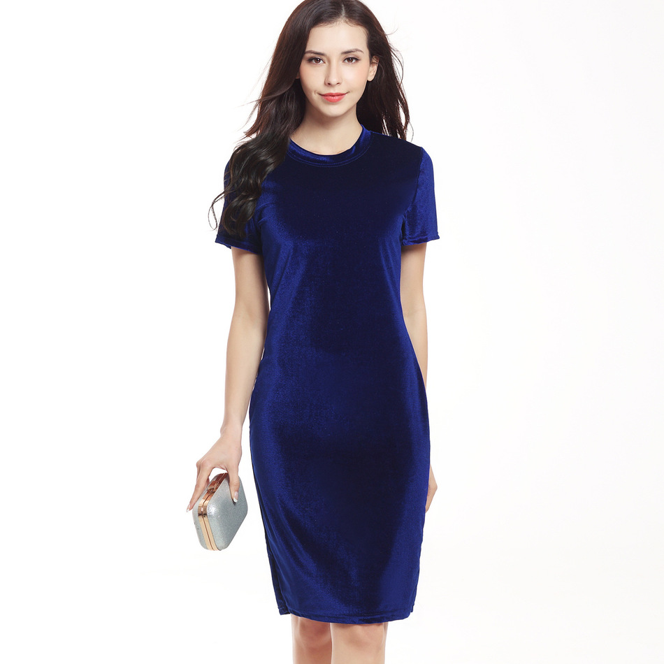 Women Velvet Sheath Dress Green Black O-Neck Short Sleeve Slim Pencil Office Work Wear Knee Length Dresses