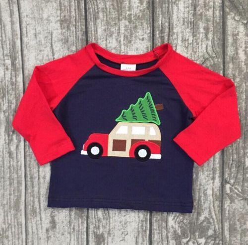 T-Shirt Christmas-Elements Long-Sleeve Car-Cotton Autumn Boys Kids Tree Patchwork Casual