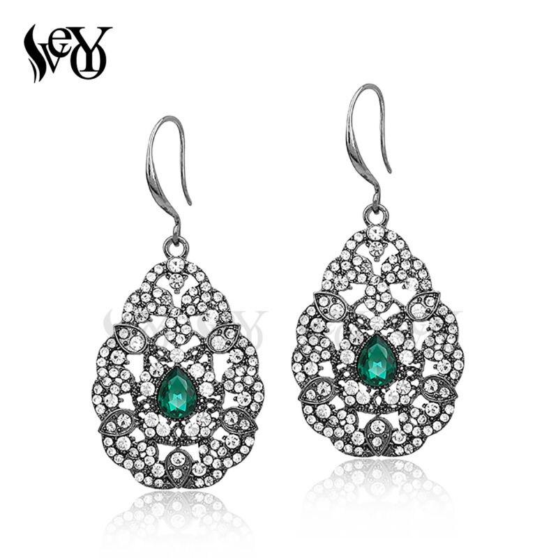 VEYO Pendientes de cristal Pendientes de diamantes de imitación de - Bisutería - foto 3