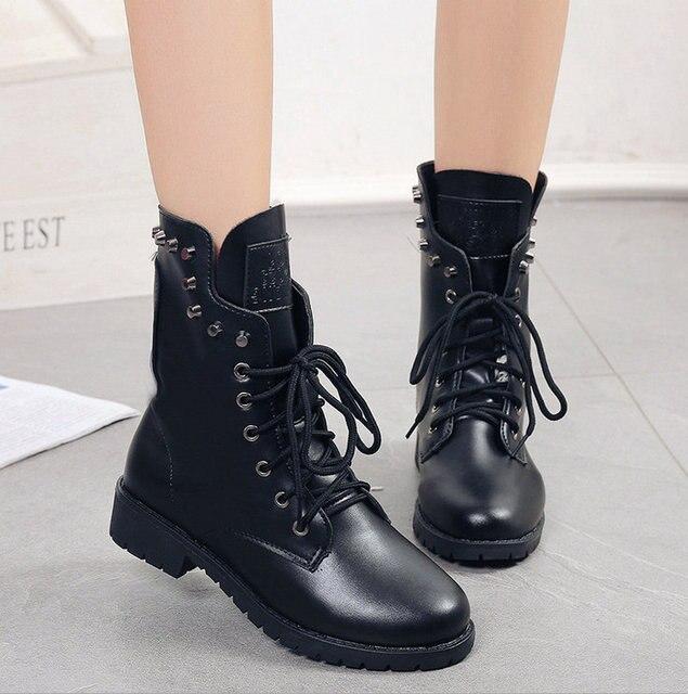 937069cde 2017 Martins Botines con cordones de Las Mujeres Zapatos de Cuero Genuino Mujeres  Botas Militares Niñas
